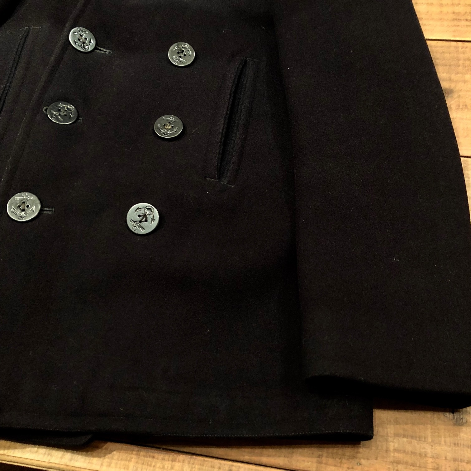 "1940s \"" U.S NAVAL CLOTHING FACTORY \"" - ALL Melton WOOL - Vintage 10 BUTTON P-COAT ._d0172088_17304075.jpg"