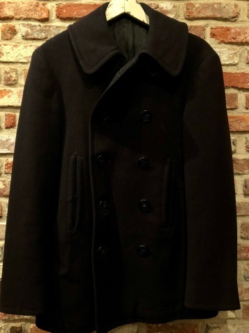 "1940s \"" U.S NAVAL CLOTHING FACTORY \"" - ALL Melton WOOL - Vintage 10 BUTTON P-COAT ._d0172088_17553990.jpg"