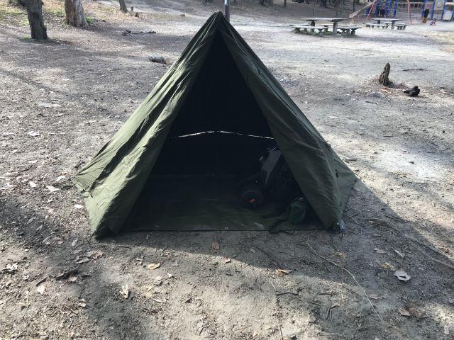 ポーランド軍ポンチョテントで服部緑地ソロデイキャンプ!_a0164918_19261485.jpg