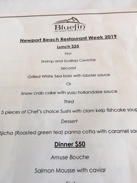 Bluefin レストラン@NewportBeach Restautant Week_e0350971_08174383.jpg