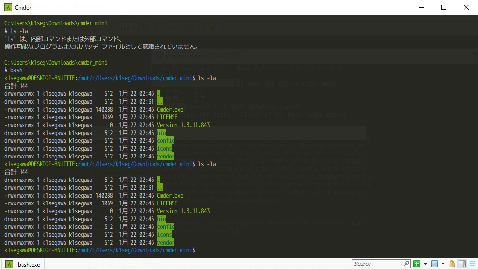 Win10 コンソール 比較 /Bash/PowerShell/Cmder/wsl-terminal - WSL使用時 (1/22)_a0034780_03175510.png