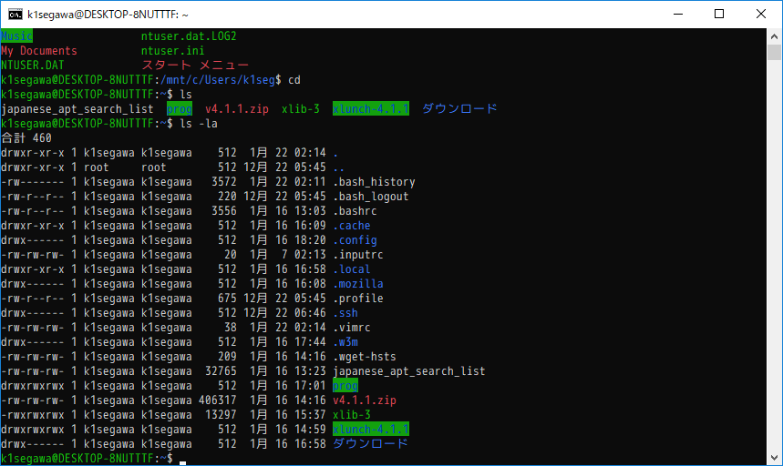 Win10 コンソール 比較 /Bash/PowerShell/Cmder/wsl-terminal - WSL使用時 (1/22)_a0034780_03414910.png
