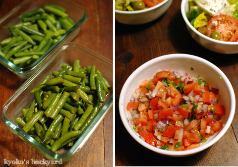 感謝祭定番のグリーンビーンズ・キャセロール。簡単胸肉ソテーとギリシャ風サラダ。/ 週1買い出し&ついで作り置き、はじめました。_b0253205_12284150.jpg