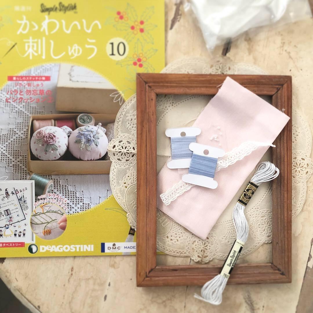 デアゴスティーニ「かわいい刺しゅう」9、10号 のリボン刺しゅうのピンクッションぜひ作ってくださいね♡_a0157409_18331947.jpeg