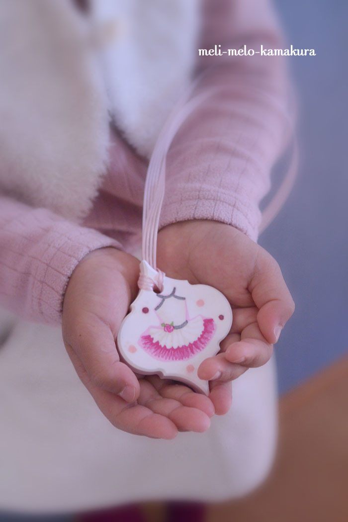 ◆デコパージュ*娘の作品♡バレエのチュチュが可愛いアロマストーン_f0251032_17493651.jpg