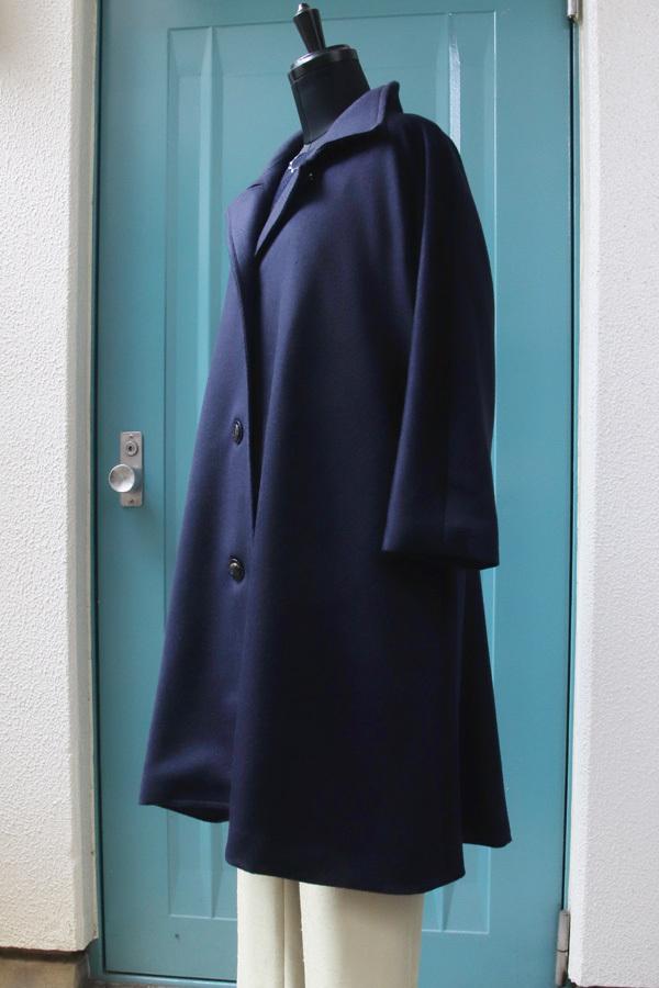 オーダー用 カシミヤ スタンドカラーキモノスリーブAラインコート(ベルト付き) ネイビー (1955)_e0104046_05375952.jpg