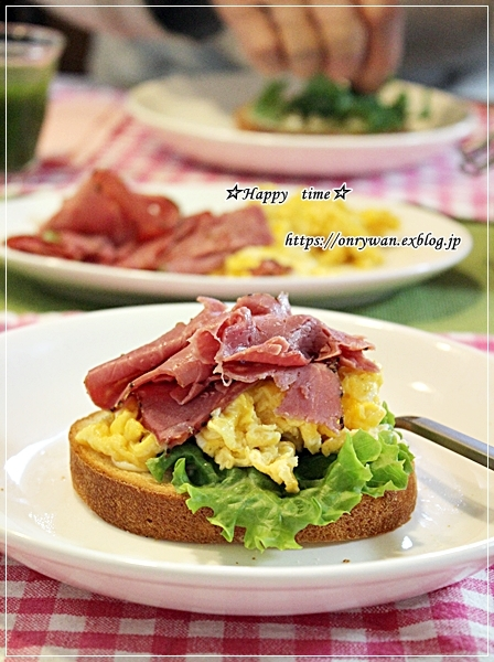 朝ごパンはオープンサンドと久しぶりに☆部活動♪_f0348032_17114982.jpg