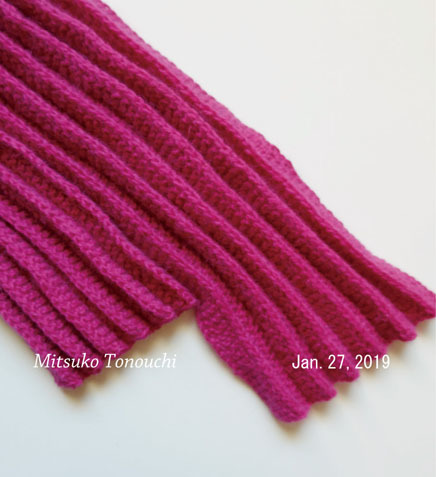 プリーツ編み完成     My pleated scarf finished_b0029036_20420238.jpg