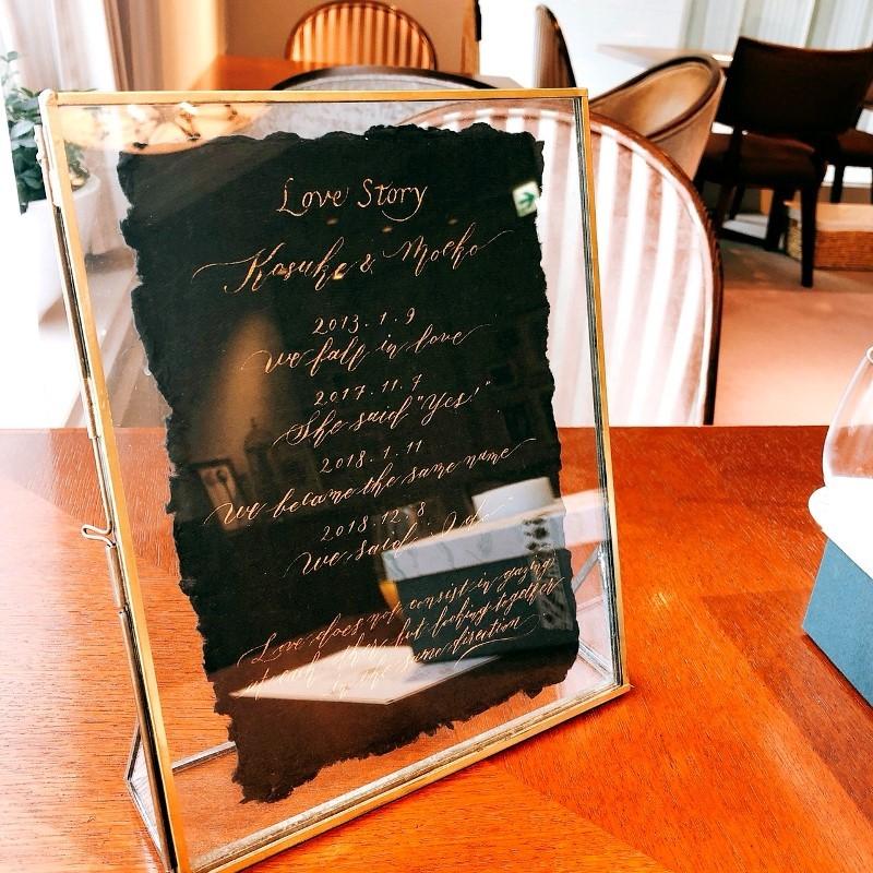 モダンカリグラフィー コラベルタイルの席札 Love Storyボード_b0165872_20005749.jpg