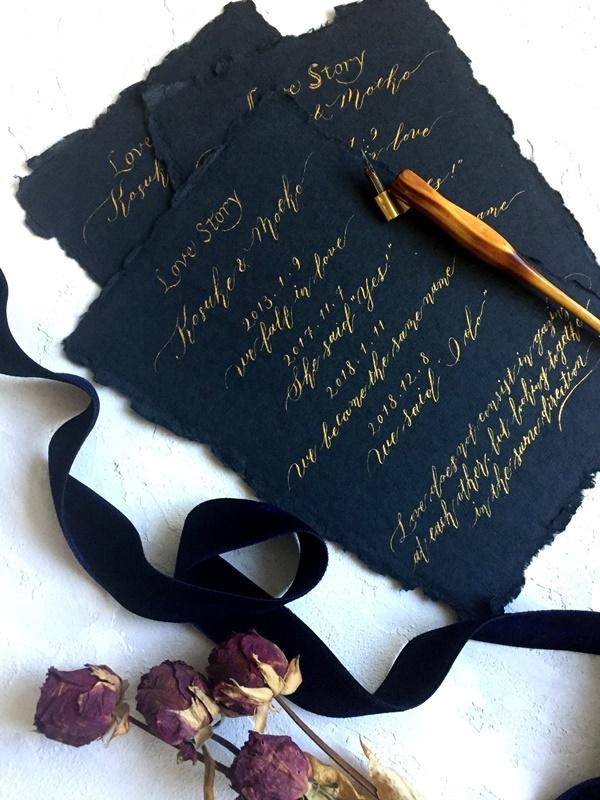 モダンカリグラフィー コラベルタイルの席札 Love Storyボード_b0165872_20010956.jpg