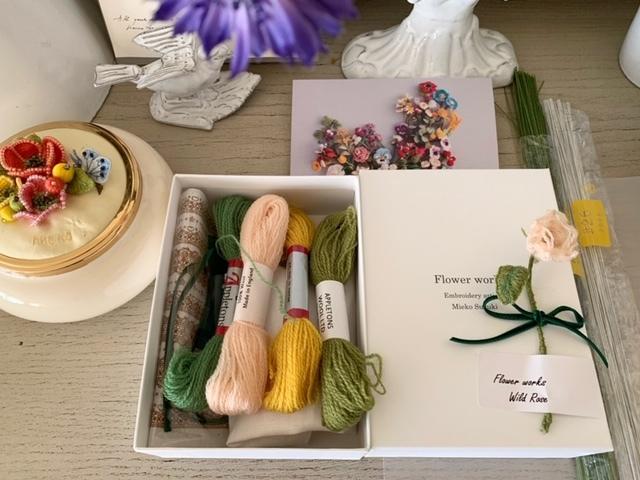 文化出版『ウール刺繍で作る立体の花々』出版記念展のワークの事(材料)_a0122148_13275588.jpg