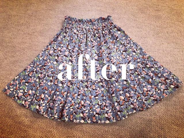 私のトップス、首回りのゴムが伸びてしまって、ずーっと着ないままだったので、またまた娘のギャザースカートにリメイク。_e0309971_21285920.jpg