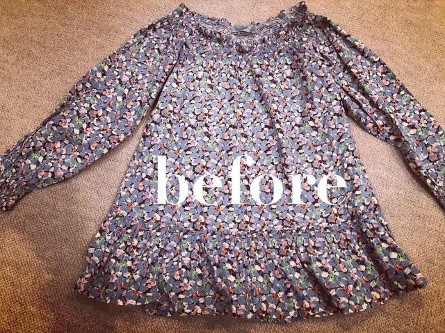 私のトップス、首回りのゴムが伸びてしまって、ずーっと着ないままだったので、またまた娘のギャザースカートにリメイク。_e0309971_21290962.jpg