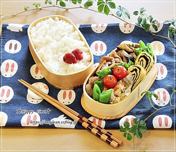 きのこ入り豚の生姜焼き弁当と節分にて♪_f0348032_18160963.jpg
