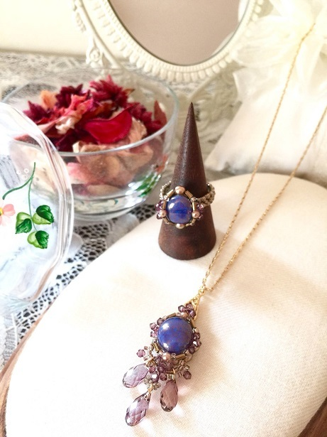❀Czech Candy Beads Necklace & Ring❀_c0368764_16475897.jpg