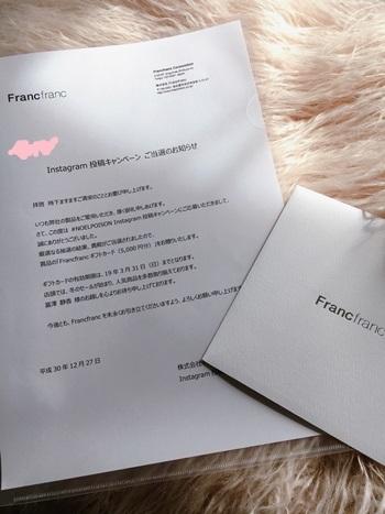 FrancFrancのキャンペーン当選&お買いもの♪_e0237680_10550845.jpg