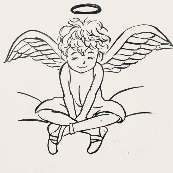 天使を裏紙に試し描き_d0377316_20443463.jpeg