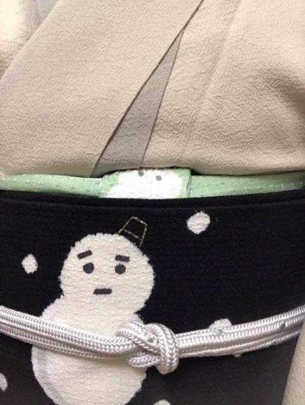 10周年・絞りの着物に龍の帯・お客様の雪だるまコーデ_f0181251_16185732.jpg