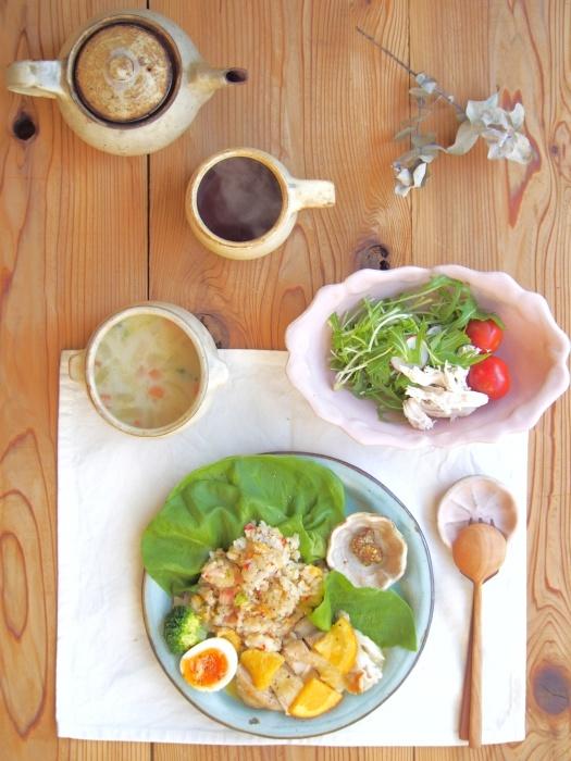鶏のオレンジソースの朝ごはん_b0277136_09034025.jpeg