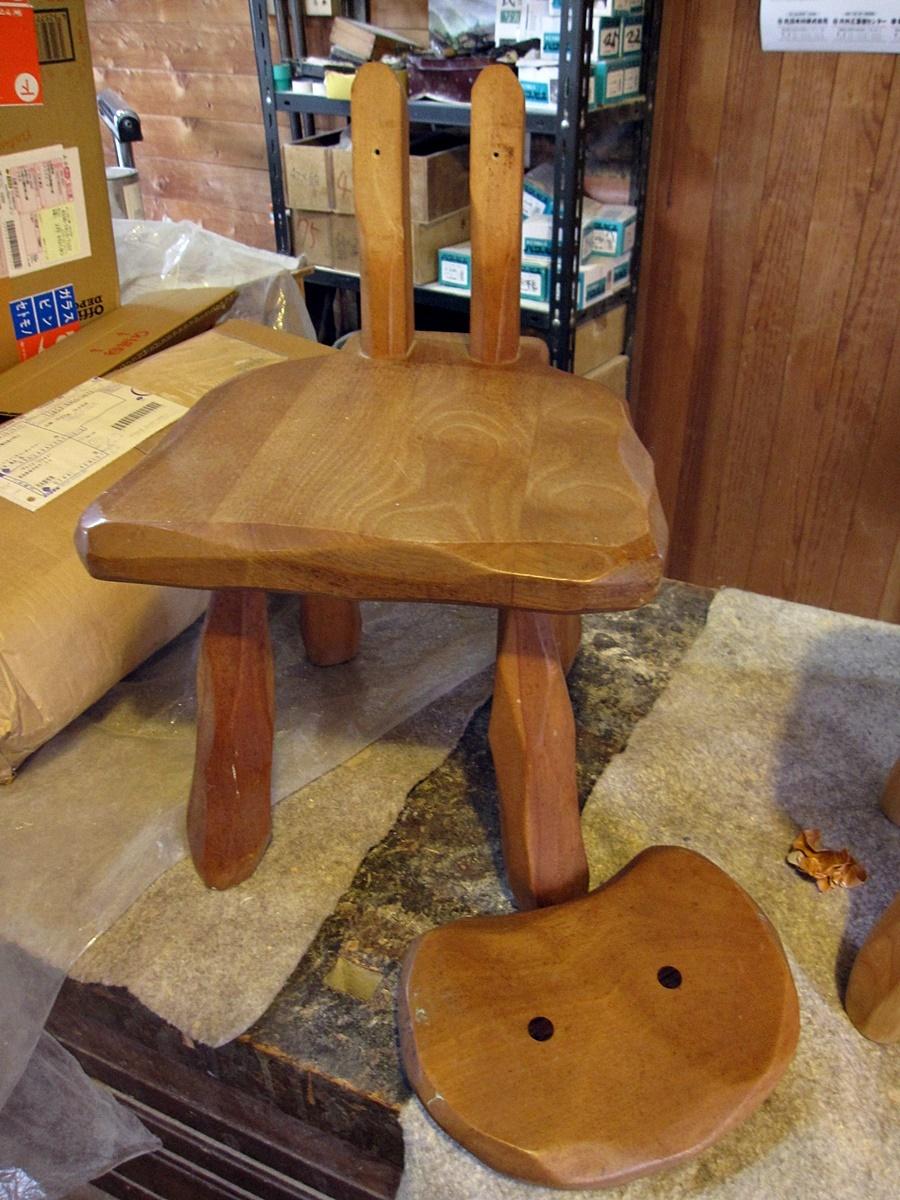 大ネコ椅子、大スツールの修理_e0072513_19373540.jpg