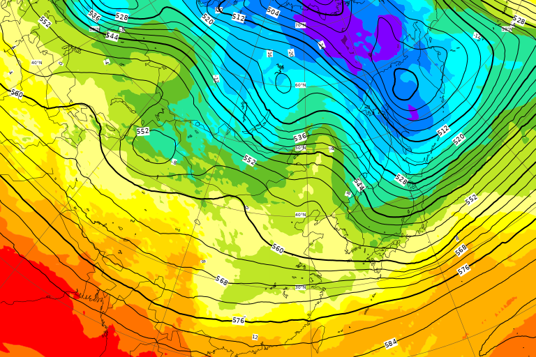ECMWF Geopotential 500 hPa and temperature at 850 hPa(2019年2月22日版)+1ヶ月予報_e0037849_20110532.png