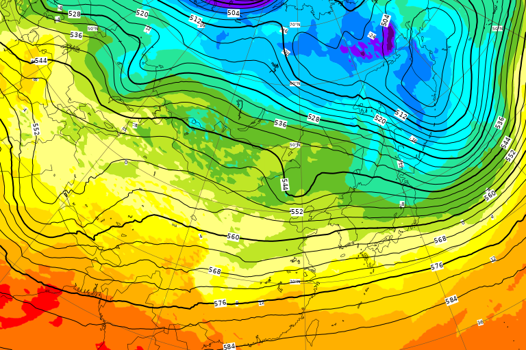 ECMWF Geopotential 500 hPa and temperature at 850 hPa(2019年2月22日版)+1ヶ月予報_e0037849_20110547.png