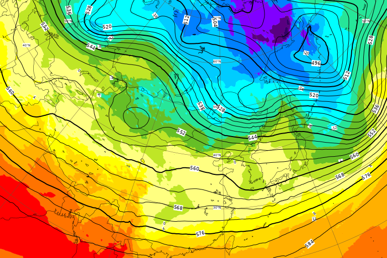 ECMWF Geopotential 500 hPa and temperature at 850 hPa(2019年2月22日版)+1ヶ月予報_e0037849_20110583.png