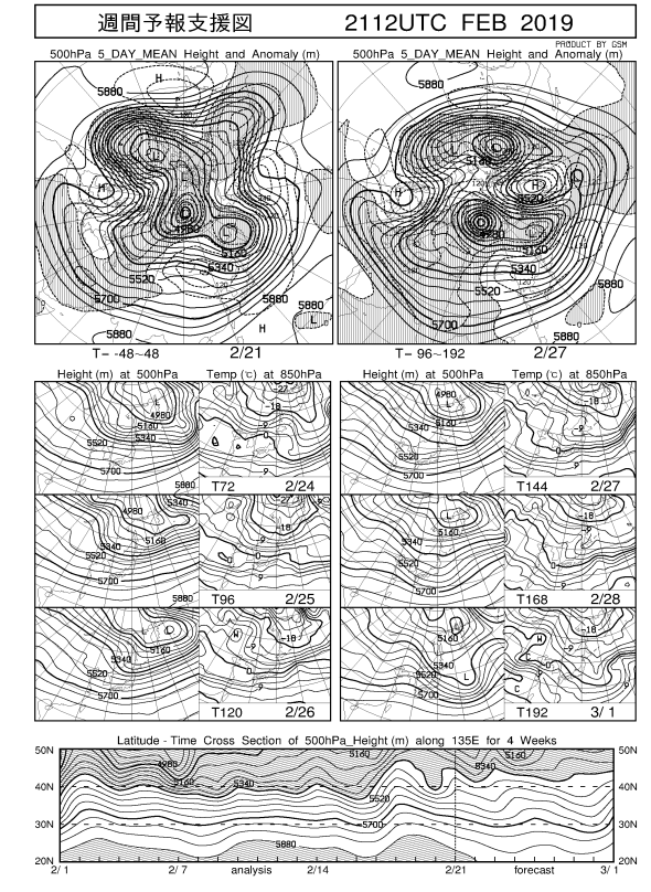 ECMWF Geopotential 500 hPa and temperature at 850 hPa(2019年2月22日版)+1ヶ月予報_e0037849_20133915.png