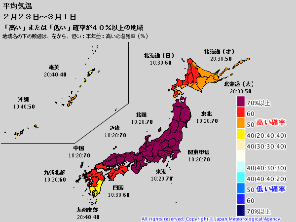 ECMWF Geopotential 500 hPa and temperature at 850 hPa(2019年2月22日版)+1ヶ月予報_e0037849_20223570.png