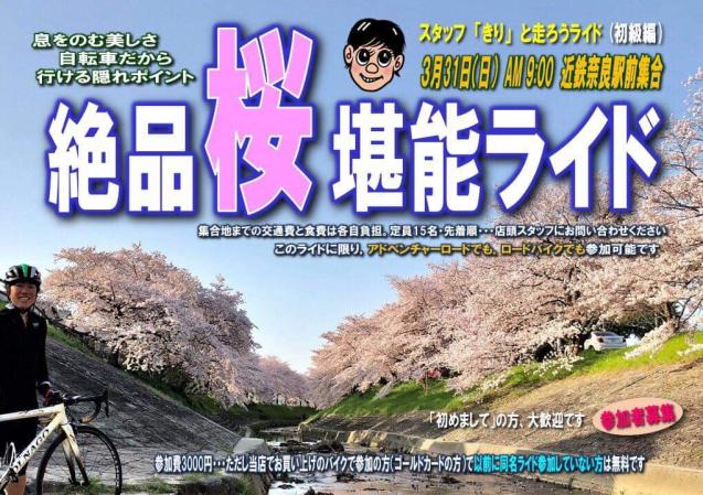 3/31(日)絶品桜堪能ライド_e0363689_18023600.jpg