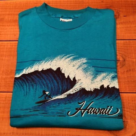 "1983 \"" HANES - BEEFY T - \"" 100% cotton - HAWAII souvenir - VINTAGE Tee SHIRTS - OCEAN BLUE - ._d0172088_22362925.jpg"