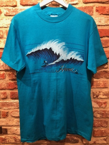 "1983 \"" HANES - BEEFY T - \"" 100% cotton - HAWAII souvenir - VINTAGE Tee SHIRTS - OCEAN BLUE - ._d0172088_22484970.jpg"