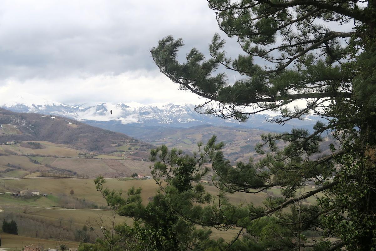 雪山を望めば風に揺れる松、サンタ・ヴィットーリア・イン・マテナーノ_f0234936_5321813.jpg