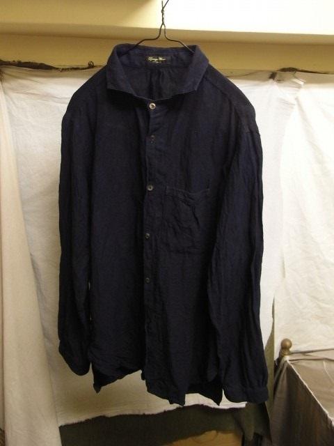 洗いました / classic frenchwork indigoheavylinen shirt_e0130546_19121513.jpg