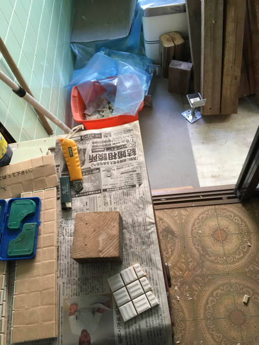 お風呂場その4。タイル剥がれた‥_f0182246_14193362.jpg