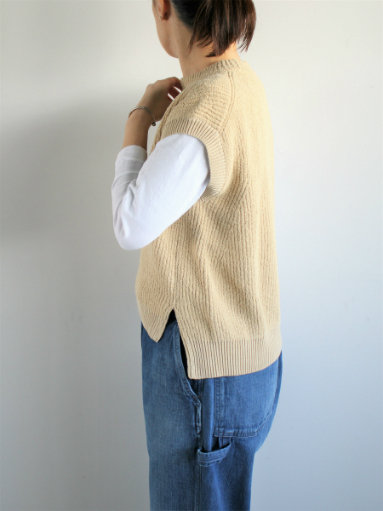 unfil cotton boucle ribbed-knit sweater / beige_b0139281_14263036.jpg