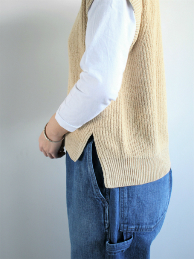unfil cotton boucle ribbed-knit sweater / beige_b0139281_14263656.jpg