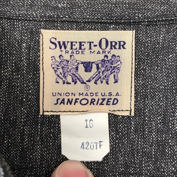 Dead Stock 1950\'s SWEET-ORR Black Chambray Shirt_c0146178_19050442.jpg