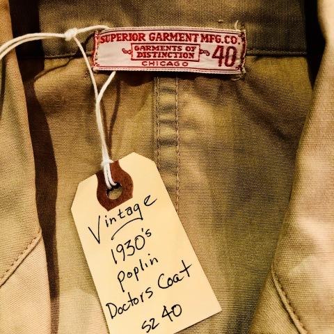 "1930s \"" SUPERIOR GARMENT MFG. CO \"" ALL cotton POPLIN - VINTAGE DOCTORS COAT - ._d0172088_22080100.jpg"