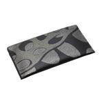 身につける漆 蒔絵の 牛革財布 銀ドット すいれん 銀色粉  伝統の技と技術を生かし日本の伝統とともに何時も身につける喜びそして機能的に携帯できるファッションアイテム Sakamoto Collection MAKIE thin long leather wallet Waterlily Silver color 手になじみやすい柔らかくシックな黒の牛革、2色の輝きの異なる銀色粉で全面に水辺に浮かぶ
