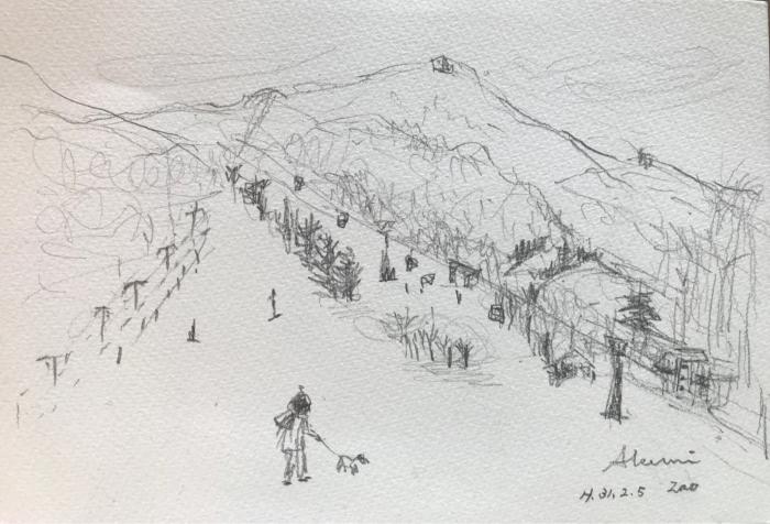 ゲレンデでお散歩(水彩画)_e0233674_16540016.jpg