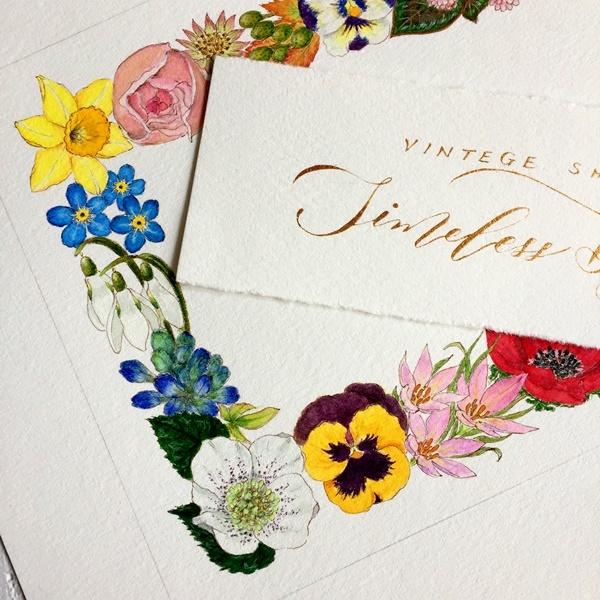 モダンカリグラフィー お花のリース ガッシュで色付け 紙と筆のこと_b0165872_20572884.jpg