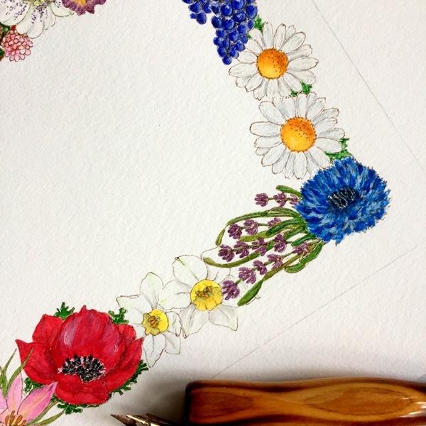 モダンカリグラフィー お花のリース ガッシュで色付け 紙と筆のこと_b0165872_20573578.jpg