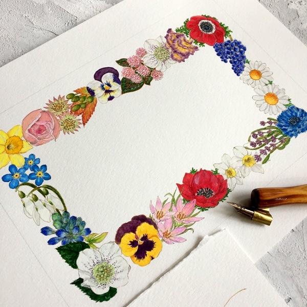 モダンカリグラフィー お花のリース ガッシュで色付け 紙と筆のこと_b0165872_20574108.jpg