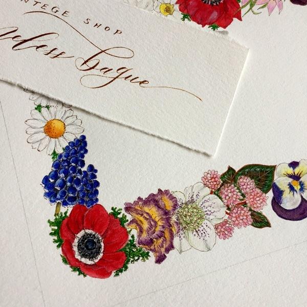 モダンカリグラフィー お花のリース ガッシュで色付け 紙と筆のこと_b0165872_20574664.jpg