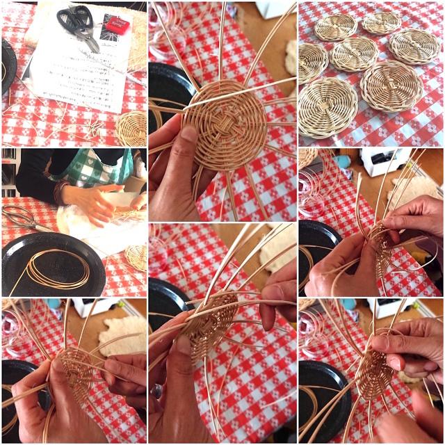 編み組みの楽しみ。藤で編むコースターのワークショップ MIKA MIKA Handicraft Lab._b0198131_21040639.jpg
