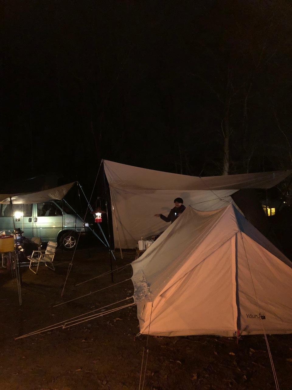 Camp  / 晴れのち雪 直火キャンプ_b0195093_15035199.jpg