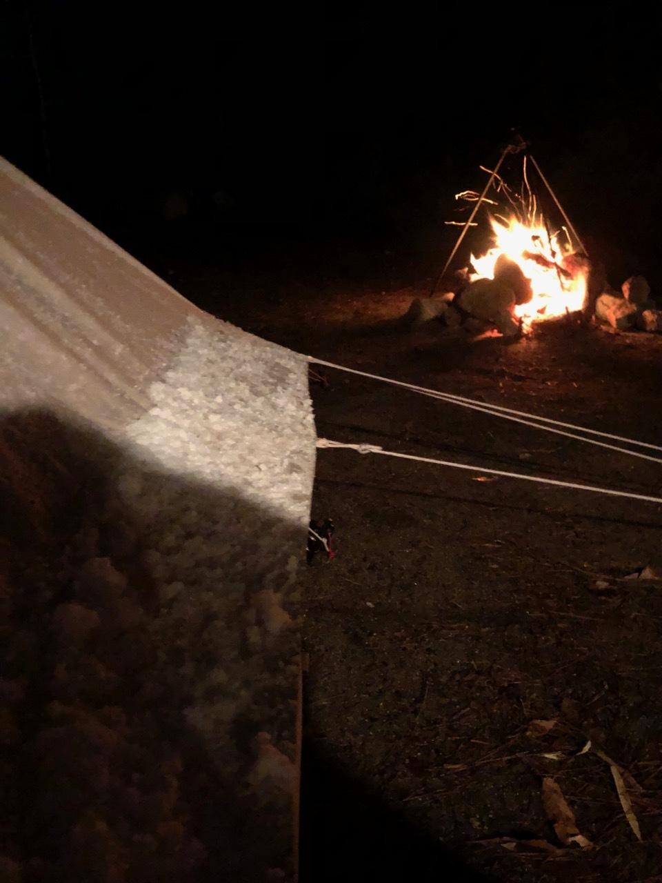 Camp  / 晴れのち雪 直火キャンプ_b0195093_15091300.jpg