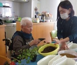 園芸療法の時間に寄せ植えをしました_d0163307_11583944.jpg