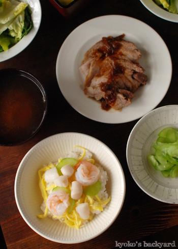 海老とベイスキャロップのちらし寿司_b0253205_01495956.jpg